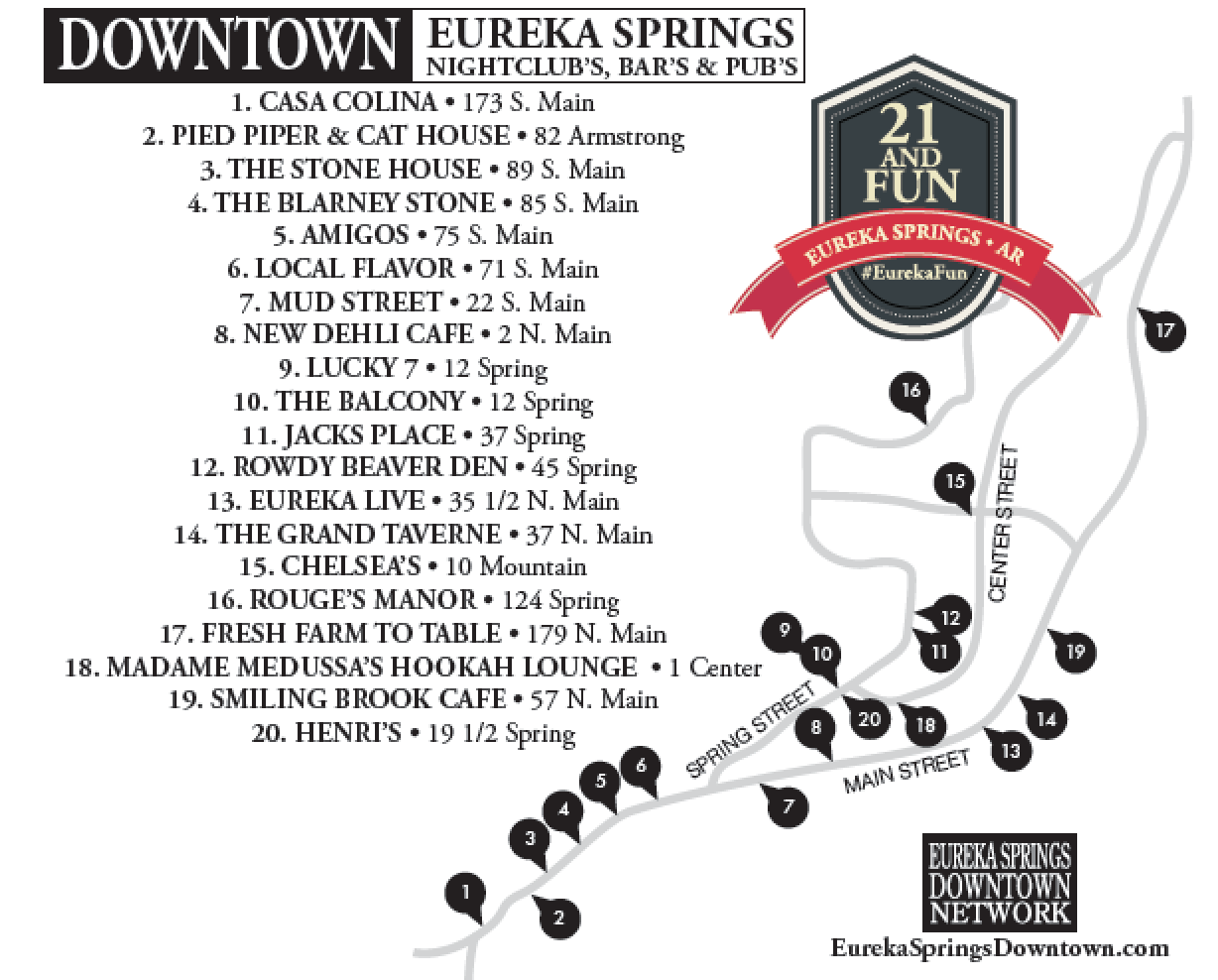 Click Here For A Map Of Eureka Springs Downtown Nightlife